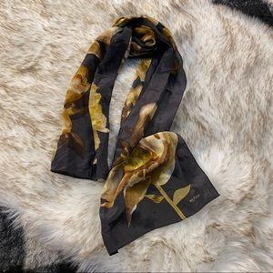 Vtg floral long hair scarf silk echo